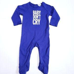 "3-6M ""Baby don't cry"" Onesie Blue Pyjamas"